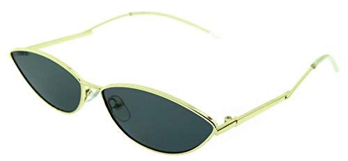 KIRALOVE Gafas de sol con ojos de gato para mujer - gafas para gato - mariposa - niña - delgadas - alargadas - vintage - retro - trampa - moda - marco dorado - lente negra cat eyes trap