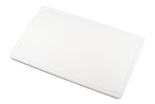 Commercial Plastic Carving Board with Groove, NSF Certified, HDPE Poly, 30 x 18 x 0.5 Inch, White