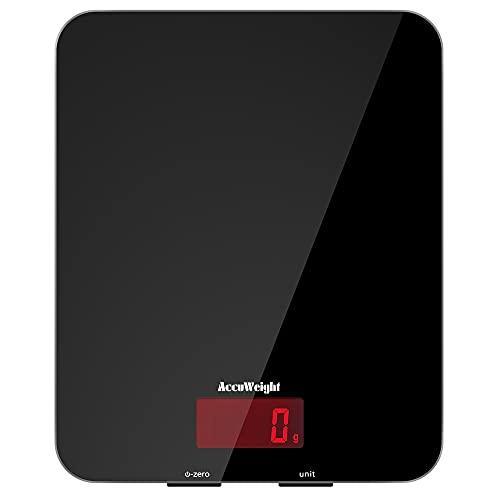 ACCUWEIGHT 201 Bascula Cocina 5 kg / 11 lbs Báscula Multifuncional para Alimentos, con Superficie de Vidrio Templado y Pantalla LCD, Puede Mostrar el Peso de los Alimentos,5 kg, 11 LB
