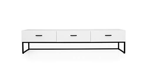 TENZO Mello 3 Schubladen, lowboard, Board, Tv-möbel, Weiss lackeirt, Skandinavisches Design, Spanplatte Stahl lackiert, H40 x B176 x T43 cm