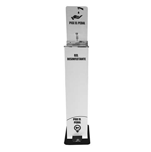 Columna Dispensador gel hidroalcohólico desinfectante de manos con pedal color blanco   Capacidad garrafa 5L   Sin electricidad   Sin Contacto