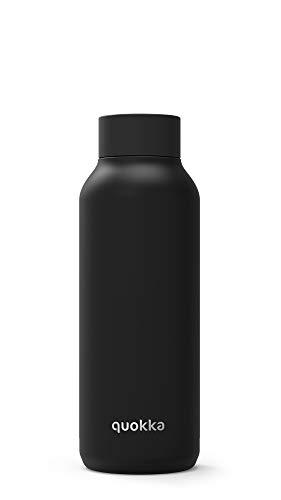 Quokka Solid - Jet Black 510 ML   Botellas De Agua Acero Inoxidable Sin BPA  Botella Térmica De Doble Pared - Mantiene el frío y el Calor para Niños y Adultos