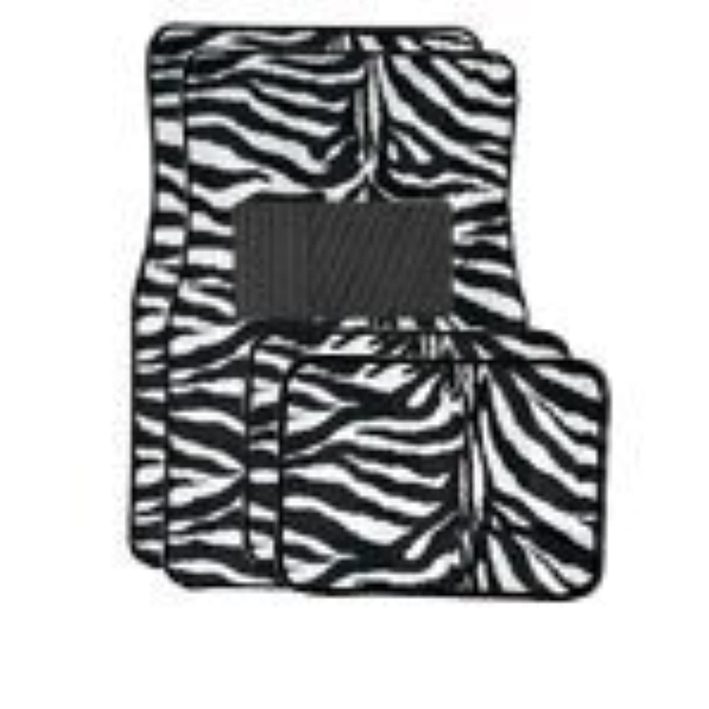 A Set of 4 Universal Fit Animal Print Carpet Floor Mats for Cars / Truck - Zebra White Tiger by BDK