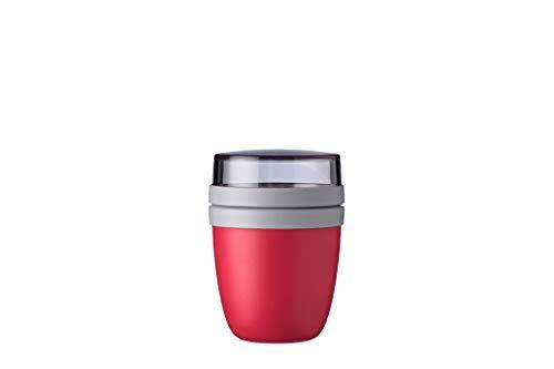 Mepal Lunchpot Ellipse Nordic red – 300 ml praktischer Müslibecher, Joghurtbecher, to go Becher – Geeignet für Tiefkühler, Mikrowelle und Spülmaschine, PP/PCTG, Rot, 420 ml