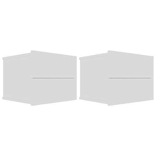 2/1 Mesitas de Noche Flotantes Blancas/Negras Estante con 2 Cajones de Pared Moderno Duradero...