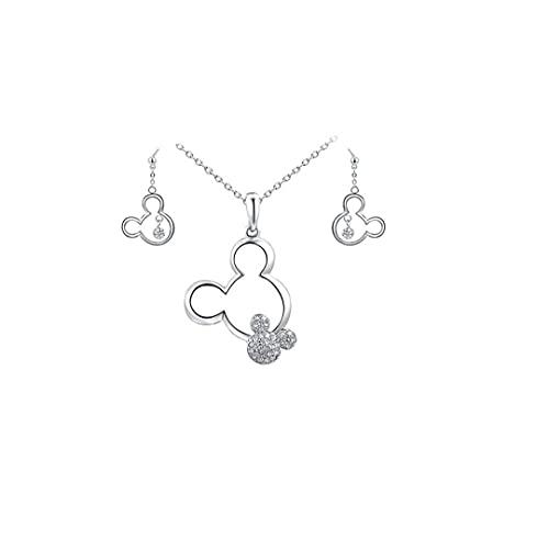 Runfun Oro Plateado Collar Lindo del ratón y de los Pendientes del Collar de Cristal del Pendiente de la joyería para Las niñas Adolescentes Regalos de cumpleaños de Navidad Mujeres - Plata
