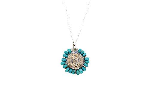 Kokomorocco Colgante Medalla Virgen de Guadalupe de Plata 925 y turquesas, Regalo comunión, Regalos Originales, Mujer y niña, Caja y Bolsa de Regalo Incluido Regalo Dia de la Madre