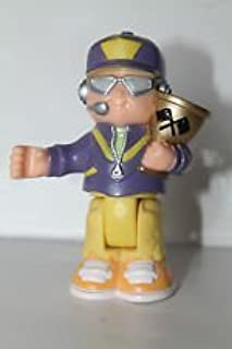 Fisher Price Little People Bendables Grand Prix, Spin & Crash Raceway Replacement Pit Crew, Race Car Driver Holding Trophy, Purple/Gray & Yellow