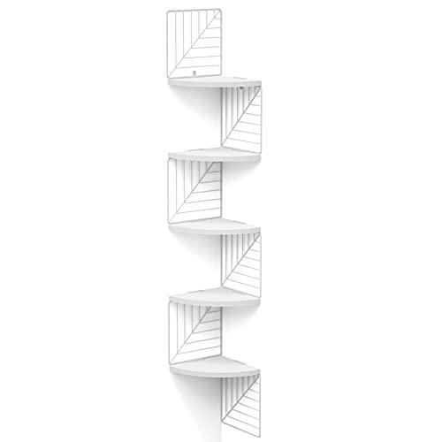 Love-KANKEI Étagères dangle à 5 Niveaux, Etagères Murales, étagères flottantes en Bois Rustique pour Bibliothèque, Chambre à Coucher, Salon, Salle de Bains, Cuisine, Bureau et Plus, Blanc