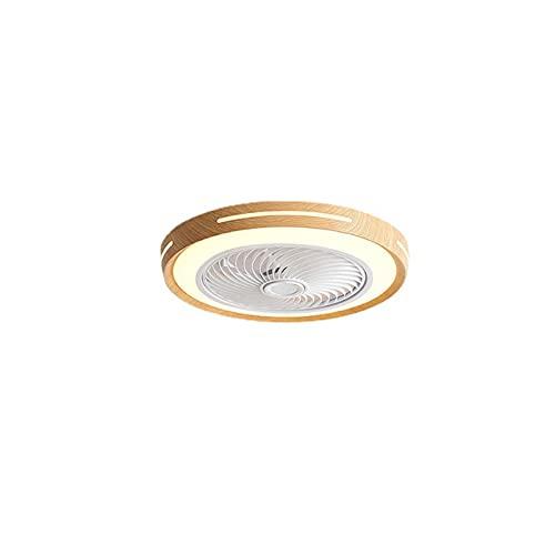 LGOO1 Ventilador de techo de bajo perfil con luces, ventilador de madera redondo cerrado Candelabro LED Regulable Lámpara de ventilador de control remoto Configuración de 3 colores Ventiladores de mon