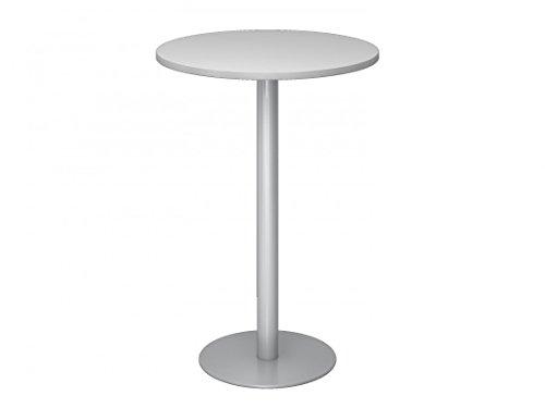DR-Office Stehtisch rund Durchmesser 80 cm - Bistrotisch Höhe 111,6 cm - 7 Farbvarianten - Tischgestell Silber - Plattenstärke 2,5 cm, Farbe Büromöbel:Grau