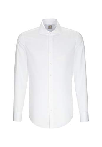Jacques Britt Herren Business Hemd Custom Fit Langarm Haifischkragen Bügelleicht