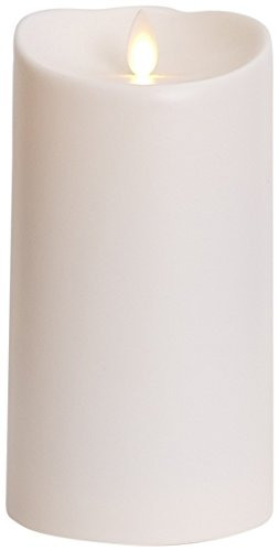 Luminara Outdoor Flameless Candle: Plastic Finish, Unscented Moving Flame Candle with Timer 7',Ivory, cream