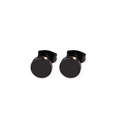 Qirun Pendientes Punk Rock para Hombre, Pendientes con Barra de Acero Inoxidable, Color Negro, 5-10 mm