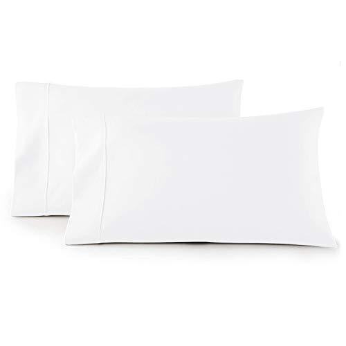 Juego de funda de almohada de satén de 300 hilos, 100 % algodón, color blanco brillante, tamaño king, muy transpirable, fácil de...