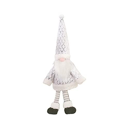 DONTHINKSO Gnomo de Navidad botella de vino cubre lentejuelas ropa de Santa vestido sombrero conjunto para Navidad Año Nuevo vacaciones comedor mesa decoración - blanco