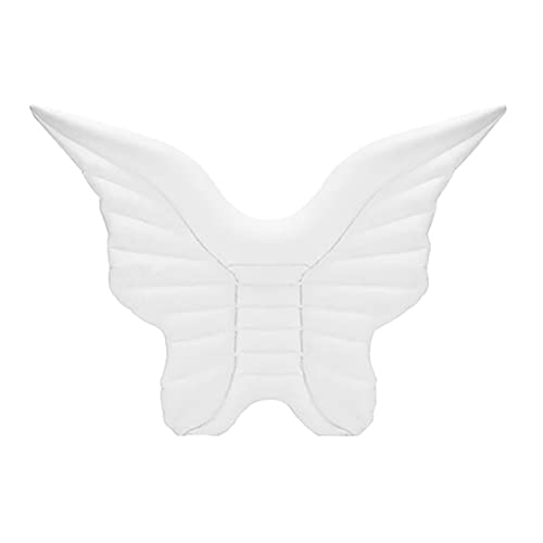 Alas de ángel gigante Alas inflables Piscina flotante de aire Colchón de aire Lazy Water Party Juguete Montar Anillo Piscina 110 * 180 cm Piscina Fideos Flotadores Inflable Camping ( Color : White )