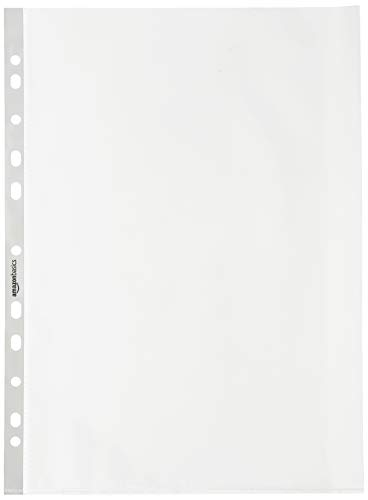 AmazonBasics - Premium-Prospekthülle, gelocht, 80 Mikron, 100 Stück