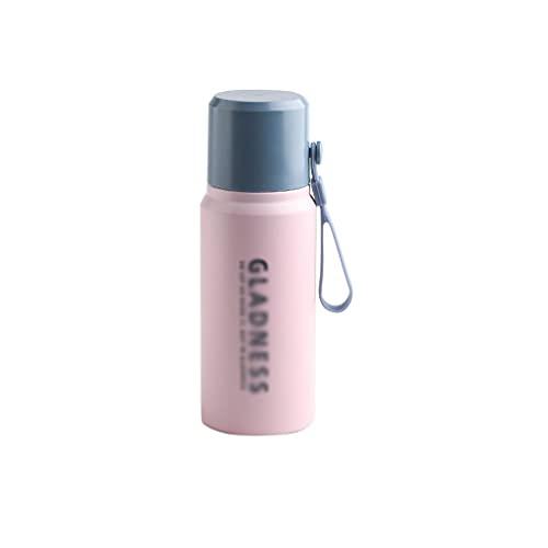 Pank Botella de Termo Deportiva, Botella de Acero Inoxidable de 14.8oz 304, Taza a Prueba de Fugas de vacío portátil de múltiples Capas, niño/niña/niño/Escuela Portátil (Color : Blue Pink)