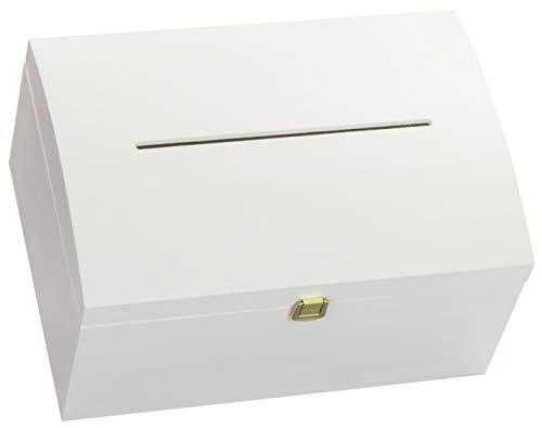 LAUBLUST Holztruhe Gewölbter Deckel, Brief-Schlitz & Schloss - 35x25x19cm, Weiß, FSC® - Geschenk-Truhe zur Hochzeit