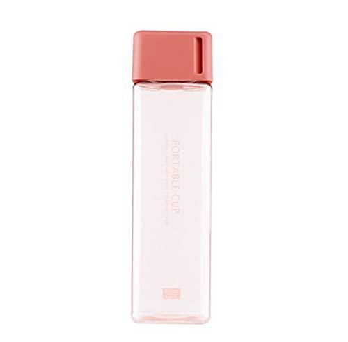 Botella de Agua Transparente Cuadrada PláStico Mate Taza Bebida Al Aire Libre Jugo FríO Leche Botella Deportiva con Cuerda PortáTil Prueba Fugas Rosa