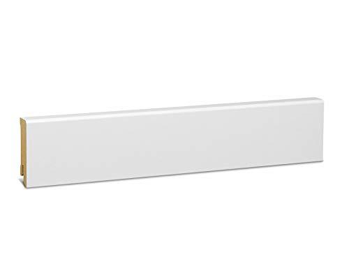 KGM Sockelleiste weiß 58mm | Modern Fussleiste weiss ✓MDF Leiste ✓für PVC Vinyl & Laminat ✓weiße Leisten✓unsichtbare Clip Montage |gerade Sockelleisten 16x58x2500mm