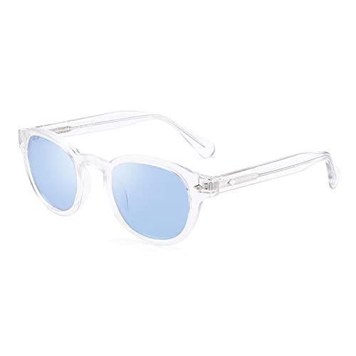 ShZyywrl Gafas De Sol De Moda Unisex Gafas De Sol Polarizadas Redondas Retro para Hombres Y Mujeres, Montura Gruesa Vintage, Gafas De Sol De Color Caramelo, AZ