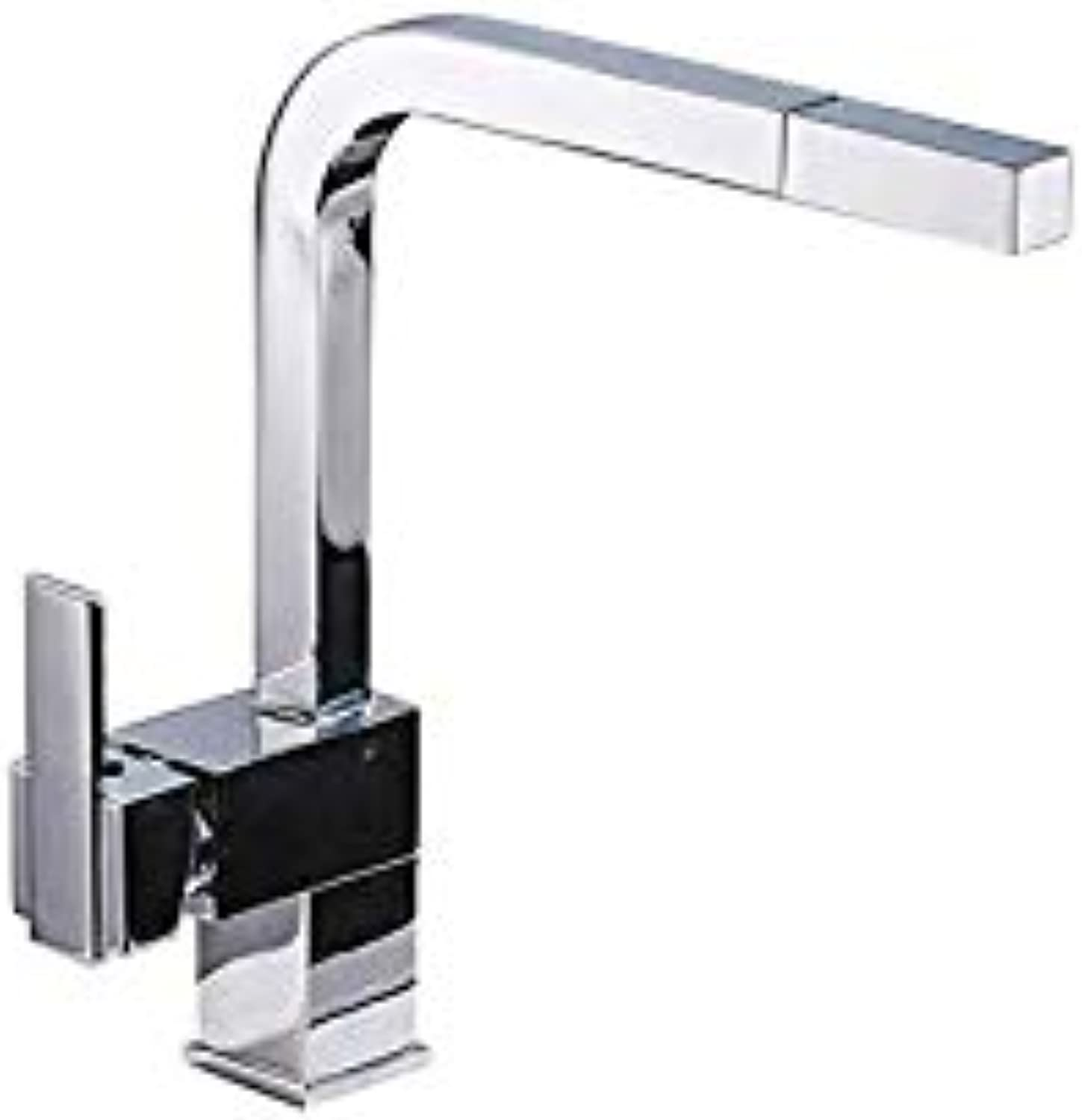 Water Tap Hot and Cold Water Faucet_High-End Kitchen Pull-Type Hot and Cold Water Faucet Square Single Hole Single Handle