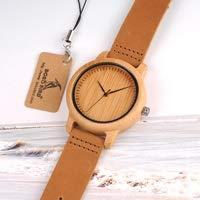 GKXAZ Lovers Holz Uhren for Damen Herren-Lederband Bambus Paar beiläufigen Quarz-Uhren (Color : LaL19women)