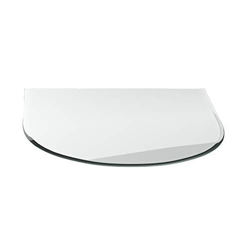 Vonkenscherm G23 ronde boog ESG 6 mm x 1300 mm x 1200 mm met 18 mm facet glasplaat bodemplaat schoorsteenplaat vonkenbescherming ovenplaat open haard glas