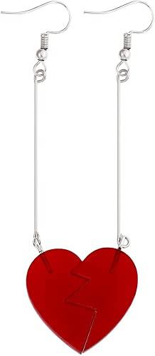 Jean Pierre, orecchini pendenti a clip, anime Rohan Kishibe Cosplay gioielli, cuore rosso orecchini pendenti accessori per fan (orecchini a cuore)