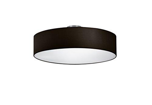 lightling modern Deckenleuchte in nickel matt, Stoffschirm schwarz, 3 x E27 max. 60W, ø 50 cm, Höhe: 20.5 cm
