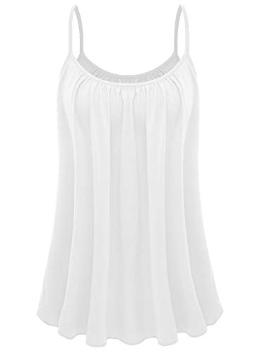 7th Element Plus Size Cami Basic Camisole Tank Top Womens T-Shirt (White,1X)