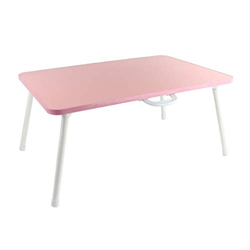 Household Laptop Can carry Stand Bed Table, Portable Foldable Sofa Breakfast Tray desk Convenient (Color : Pink)