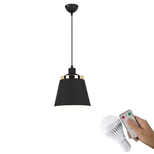1 luz colgante retro negro, accesorios de luz de la granja ajustable para la isla de la cocina ,DIRIGIÓ Control remoto operado por batería Inalámbrica inalámbrica Dimmable Colgante industrial Iluminac