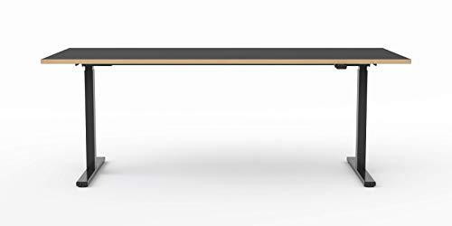 Modulor elektrisch höhenverstellbarer Schreibtisch T1 aus Stahl mit Tischplatte 2,5 x 90 x 200 cm, schwarz | schwarzes Gestell