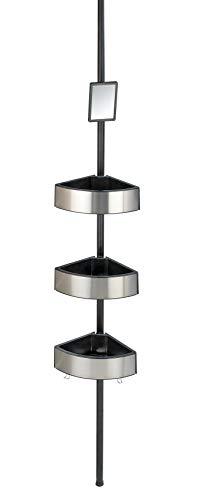 WENKO Rinconera telescópica Premium Big Black - Estantería de baño telescópica, estantería de ducha, regulable en altura con 3 repisas y espejo, Aluminio, 27.5 x 70-260 x 20 cm, Satinado
