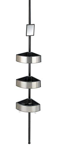 Wenko 23862100 Premium Big Black - Estantería telescópica para ducha (27,5 x 70-260 x 20 cm, aluminio, altura regulable, con 3 estantes y espejo), color plateado