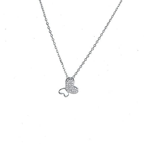 Collar de plata de ley 925 con colgante de ala de plata para mujeres y niñas