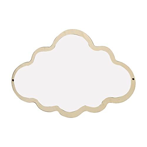 HEALLILY Espejo de Pared de Nubes Espejo Colgante de Madera Espejo Acrílico Irrompible Espejo de Tocador Decoración de Pared Nórdica para Dormitorio Infantil Cuarto de Baño Sala de Estar