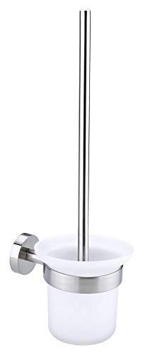 Tesa Moon WC-Bürste (Edelstahloptik, satinierter Glasbehälter (abnehmbar), inkl. Klebelösung, rostfrei, 390mm x 115mm x 147mm)