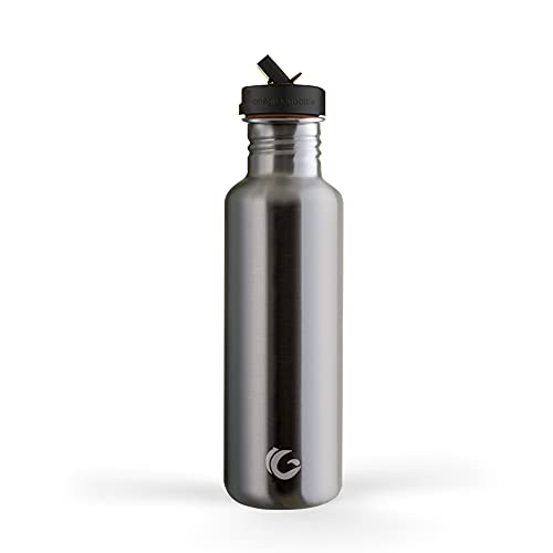 One Green Bottle Tough Canteen Water Bottle with Classic Sports Cap Stainless Steel Water Bottle Non Insulated Single Skinned Eco Bottle 800ml Silver