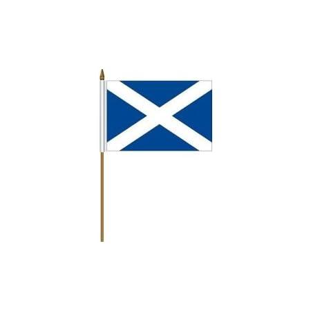 SCOTLAND ST ANDREWS CROSS SCOTTISH SMALL 4 X 6 INCH MINI COUNTRY STICK FLAG BANN