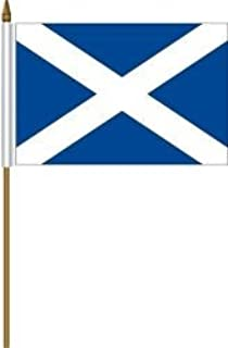 Scotland St Andrews Cross Small 4 X 6 Inch Mini Country Stick Flag Banner with 10 Inch Plastic Pole .. Great Quality Polyester ... New