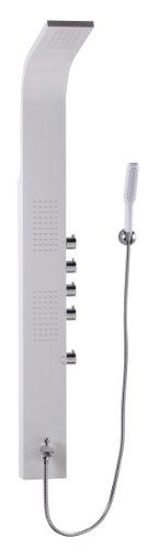 Wohnling Duschpaneel Aluminium Weiß Design Duschsöule Alu 150 cm hoch Regendusche 146 Massage-Düsen mit Hand-Brause Mischbatterie Massage-Dusche 16 cm Breit Luxus Duschamatur Massage Komplettdusche