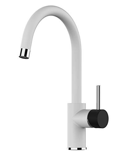 Kitchen Single-Lever Sink Mixer with high Swivel spout 360° - White/Black - Black Friday Limited Edition