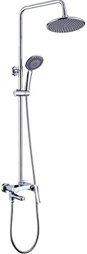Sistema de ducha de latón conjunto de ducha de baño grifo de techo o pared brazo de ducha desviador mezclador de mano juegos de spray con cabezal de ducha redondo 3 características ducha de baño
