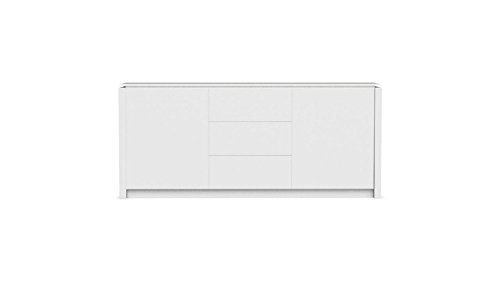 Madia Ashley, moderna ed elegante, laccata bianco ottico opaco e top in vetro temperato extrabianco in promozione!