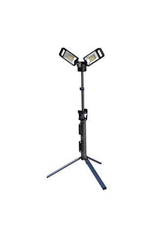 NextLED 5000 Lumen Rechargeable LED Tripod Cordless AC/DC Portable Work Light with Telescoping Stand, 4000/6500K Dual Illuminations, 3 Brightness Settings, 360 Degree Rotatable Heads, Collapsible