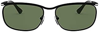 Persol Key West Polarized Black Wrap Brow-line Men's Sunglasses